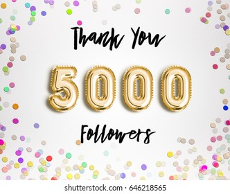 5000 followers thank you Gold balloons and colorful confetti, glitters. Illustration for Social Network friends, followers, Web user Thank you celebrate of subscribers or followers and likes.