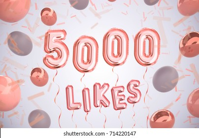 5000 likes, 5000 followers thank you with gold balloons and colorful confetti. Illustration 3d render for social network friends, followers, web user Thank you celebrate of subscriber,followers, likes