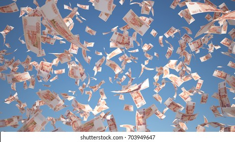 5000 Ruble (RUB), Russian Money banknotes flying on Blue Sky background, 3D Rendering