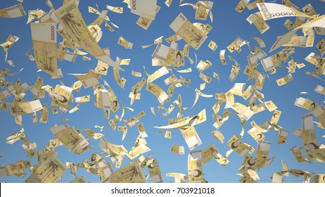 50000 South Korean Won (KRW), Korea Money banknotes flying on blue sky background, 3D Rendering