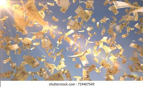 50000 South Korean Won (KRW), Korea Money banknotes flying on blue sky background, 3D Rendering with Lens Flares