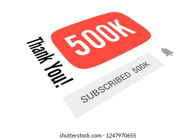500000 Five Hundred Thousand Subscribers, Thank You, Number, White Background, Concept Image, 3D Illustration