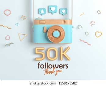 50k or 50000 followers thank you, Blue Retro Photo Camera and multicolor Figures. 3D Illustration for Social Network friends, followers, Web user Thank you celebrate of subscribers.