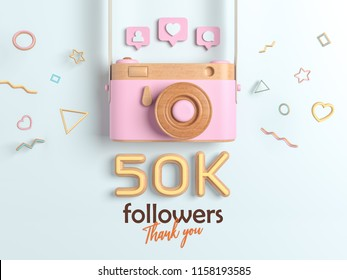 50k or 50000 followers thank you, Pink Retro Photo Camera and multicolor Figures. 3D Illustration for Social Network friends, followers, Web user Thank you celebrate of subscribers.