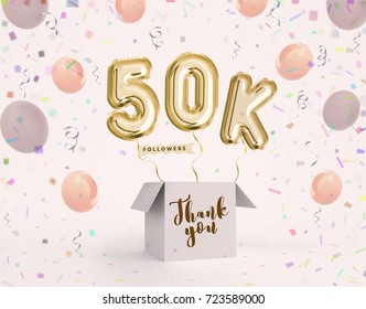 50k, 50000 followers thank you with gold balloons and colorful confetti. Illustration 3d render for social network friends, followers, web user Thank you celebrate of subscriber, followers, likes