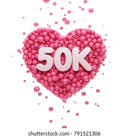 50k or 50000 followers thank you Pink heart and red balloons, ball. 3D Illustration for Social Network friends, followers, Web user Thank you celebrate of subscribers or followers and likes.