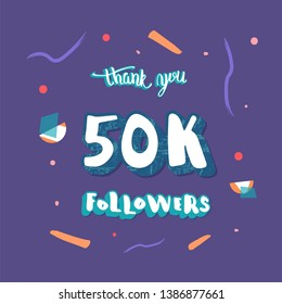 50k followers social media template. Banner for internet networks with geometric and abstract decoration.  50000 subscribers congratulation post.