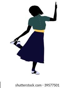 50's female dancer art illustration silhouette on a white background