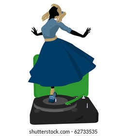 50's girl on a record player silhouette on a white background