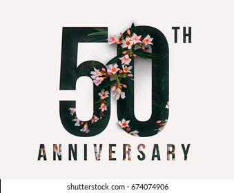 50th Anniversary celebrate illustration design by Real flowers with precious paper cut . For your unique anniversary background, invitation, card, birthday, celebration party of the years anniversary
