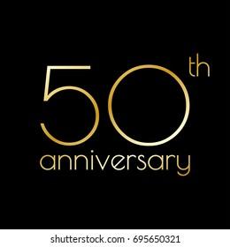 50th anniversary icon. 50 years celebrating and birthday golden logo.