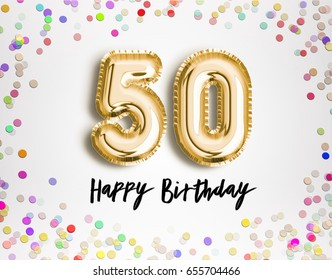 50th Birthday celebration with gold balloons and colorful confetti glitters. 3d Illustration design for your greeting card, birthday invitation and Celebration party of fifty years anniversary