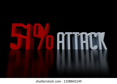 51% attack on blockchain security vulnerability 3D render