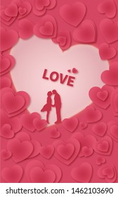520 Romantic Valentine Day Couples Marriage Embracing Kissing Paper Cut Wind Illustration Background Poster