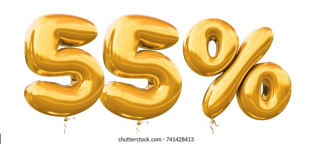 55% off discount promotion sale made of realistic 3d gold helium balloons. Illustration of balloon percent discount collection for your unique selling poster,banner ads ; Christmas, Xmas sale and more