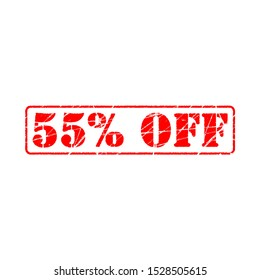 55% off on white background. fifty five Percent Off Promotional Advertising Banner. Special offer, great offer, sale.  Label and Tag with stamp effect