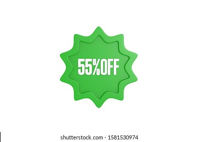 55 percent off 3d sign in green color isolated on white background, 3d illustration.