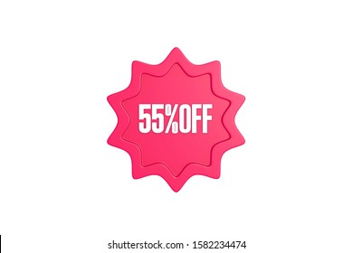 55 percent off 3d sign in pink color isolated on white background, 3d illustration.