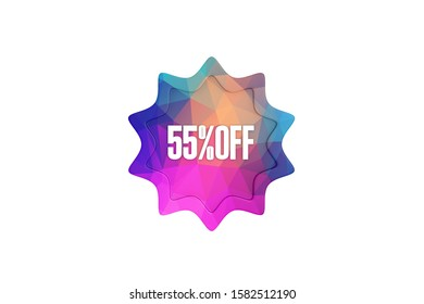 55 percent off 3d sign in multicolor isolated on white background, 3d illustration.