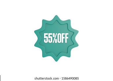 55 percent off 3d sign in teal color isolated on white background, 3d illustration.