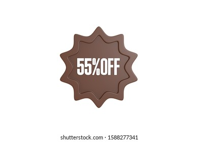 55 percent off 3d sign in brown color isolated on white background, 3d illustration.