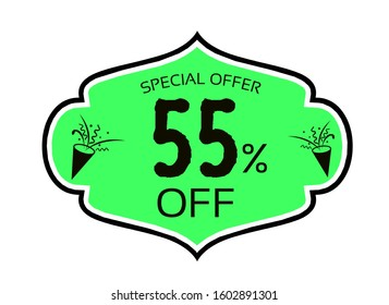 55 percent off Special offer sale green color tag isolated on white background.  This is the concept of the price list for discounts