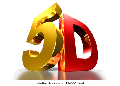 5D 3d gold,5D 3d red,Three-dimensional white background,Movie modern system.