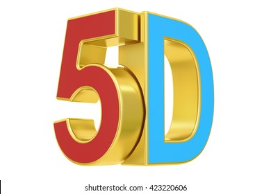 5D logo, 3D rendering  isolated on white background