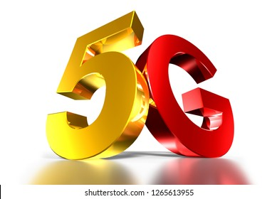 5G 3d gold,5G 3d red,Three-dimensional white background,Three-dimensional system,Mobile network,5g mobile.