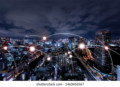 5G and AI technology, Global communication network concept. 3D Illustration.