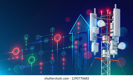 5G communication tower for wireless hi-speed internet. Mobile network technology in city life concept. LTE aerial connection with satellite net. Mast of station of the broadcasting cellular