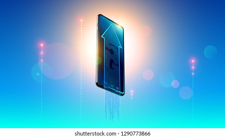 5g digital network symbol on screen modern smartphone on background clear heavens and luminous signal lte of iot devices. The arrow showing hi-speed of internet connection. LTE wireless technology