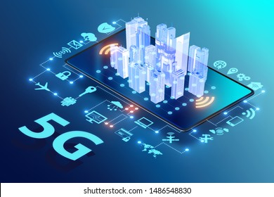 5G high internet speed - 3d rendering