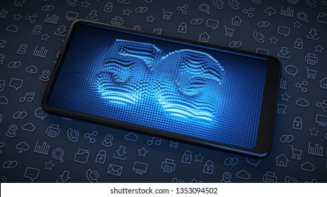 5G High speed technology in smartphones. Illuminated screen with blue neon. 3D Illustration.