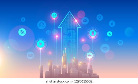 5g lte network logo over the smart city with icons of town infrastructure. devices connection via high speed, broadband telecommunication wireless internet. Skyscrapers in sunrise
