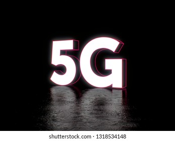 5G mobile technology neon futuristic art 3d illustration