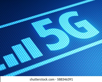5G mode on smartphone display, close up. 3D illustration.