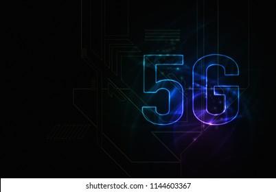 5G network of future technology image. blue background illustration.