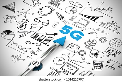 5G network or mobile speed as broadband concept with icons (3D Rendering)