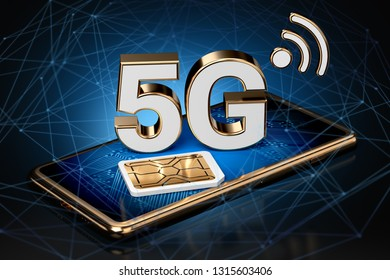 5G sign on smart phone screen with sim card next to it with high speed network nodes around. High speed mobile web technology. 3D rendering