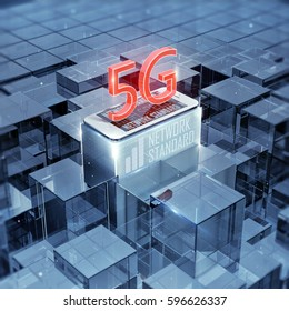 5G smartphone and text, sign, cellular high speed data wireless connection abstract glass background 3d render Illustrations