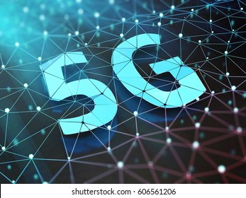 5G symbol on dark digital background. 3D illustration.