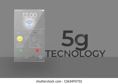5G technology transparent mobile smartphone. Concept of wireless high speed internet connection.3d Render Illustration