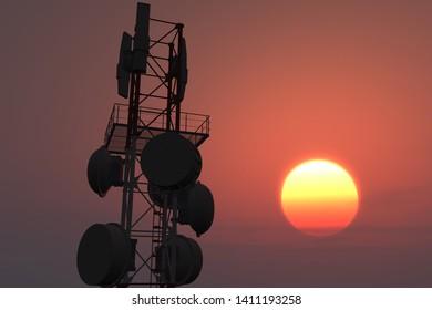5G Telecommunication Tower in Sunset Sunrise 3D Illustration