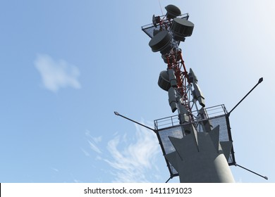 5G Telecommunication Tower under Blue Sky 3D Illustration