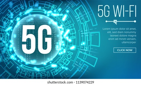 5G Wi-Fi Standard Background. Five, 5th Generation. Signal Transmission. high Speed Innovation Connection. Future Technology Illustration