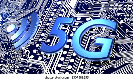 5G and Wifi symbol on top of a blue circuit board 3D illustration