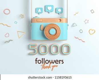 5k or 5000 followers thank you, Blue Retro Photo Camera and multicolor Figures. 3D Illustration for Social Network friends, followers, Web user Thank you celebrate of subscribers.