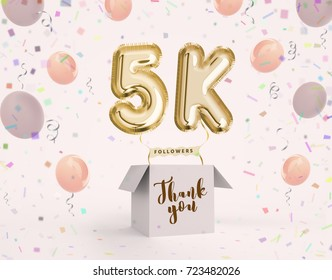 5k, 5000 followers thank you with gold balloons and colorful confetti. Illustration 3d render for social network friends, followers, web user Thank you celebrate of subscriber, followers, likes