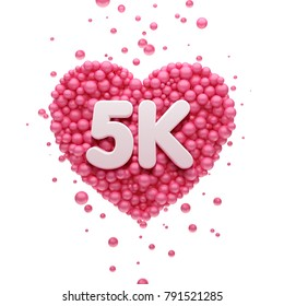 5k or 5000 followers thank you Pink heart and red balloons, ball. 3D Illustration for Social Network friends, followers, Web user Thank you celebrate of subscribers or followers and likes.